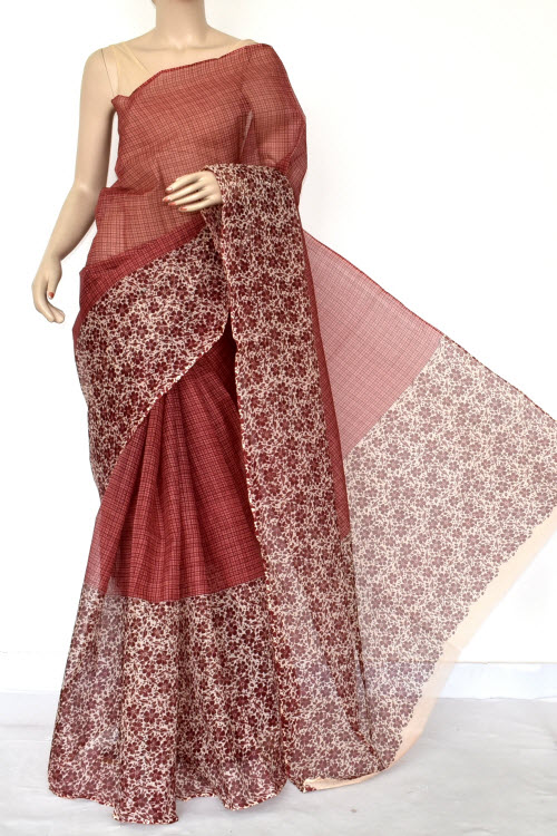 Brown Premium JP Kota Doria Printed Cotton Saree (without Blouse) 13545
