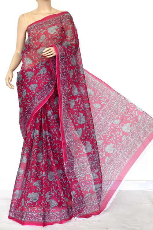 Rani Color Premium JP Kota Doria Printed Cotton Saree (without Blouse) 15415