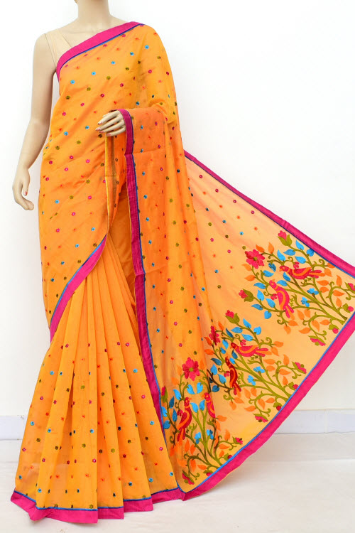 Yellow Embroidered Handloom Chanderi Cotton Saree (With Blouse) 16315