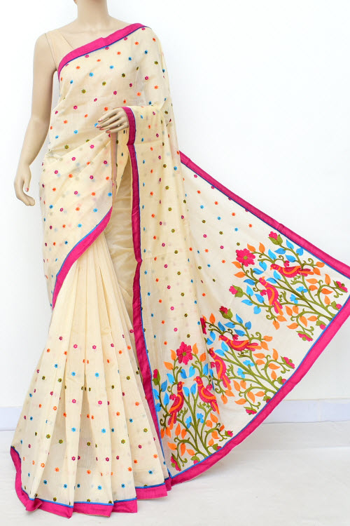 Cream Embroidered Handloom Chanderi Cotton Saree (With Blouse) 16316