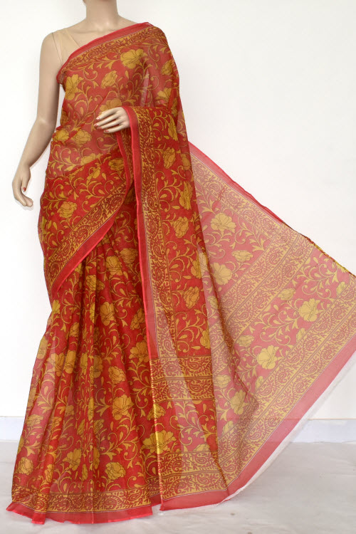 Red Premium JP Kota Doria Printed Cotton Saree (without Blouse) 15417