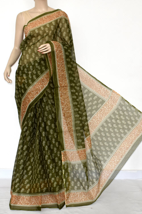 Dark Green Premium JP Kota Doria Printed Cotton Saree (without Blouse) 15418