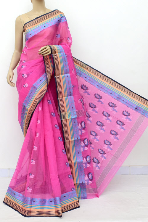 f5abeb4a61 Pink Designer Handwoven Bengal Tant Cotton Saree (Without Blouse) Resham  Border 17835