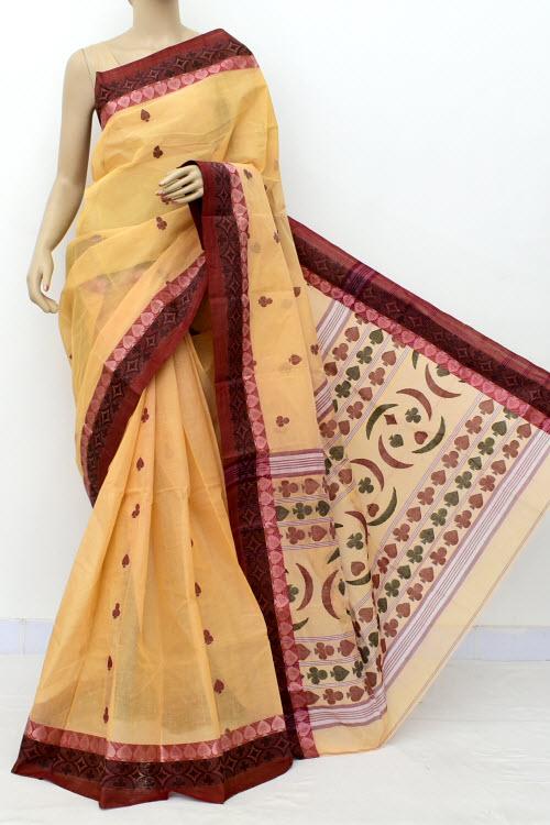 e262a2a95e Beige Handwoven Bengal Tant Cotton Saree (Without Blouse) Resham Border  17247