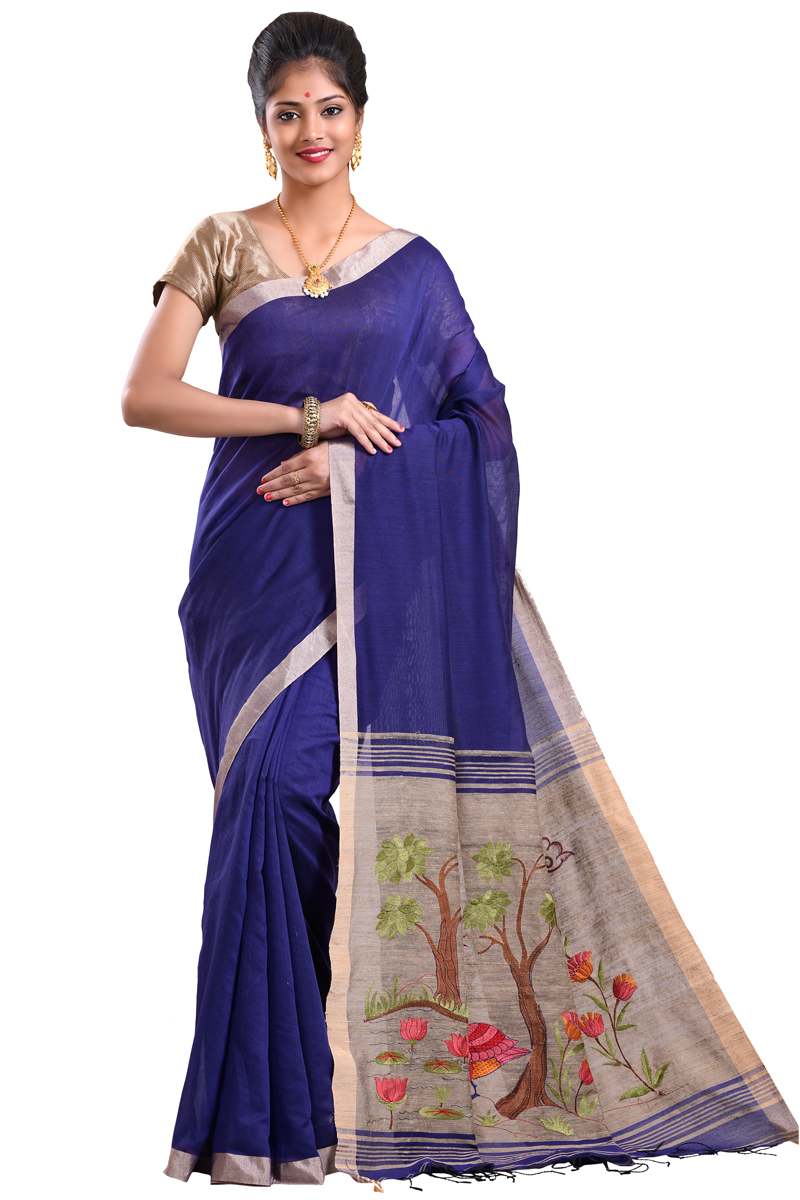 Blue Color Plain Embroidered Chanderi Saree With Patta Borders
