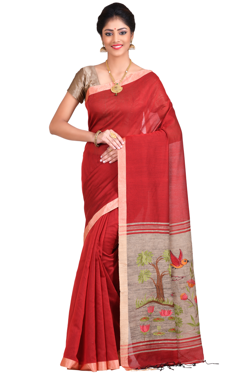 Red Color Plain Embroidered Chanderi Saree With Patta Borders