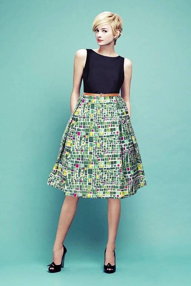 Exclusive Designer Digital Printed Midi With Belt #D156 Cube Green