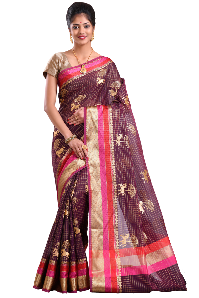 Dark Brown Color Golden Zari Work And Weaving Zari Bordered Chanderi Checks Saree
