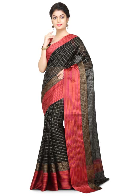 Black-red Color chanderi with geometric design all over with pathani border (With Blouse)- I118