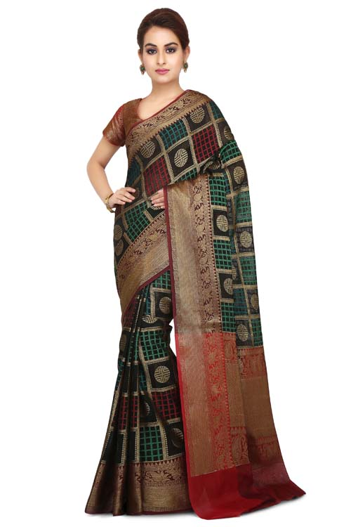 Black Color chanderi with zari border (With Blouse)- I121