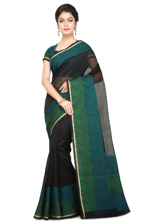 Black Color Supernet Saree With Border-I124