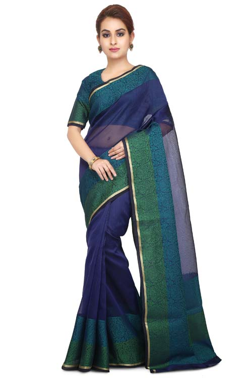 Blue Color Supernet Saree With Border-I123