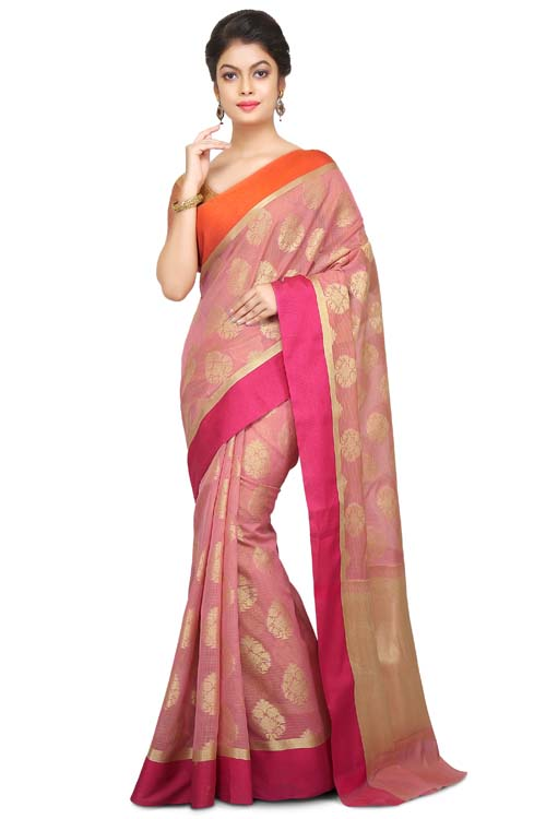 Pink Color Supernet Saree With Border-I125