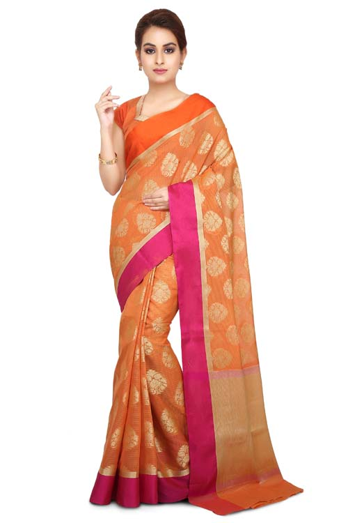 Orange Color Supernet Saree With Border-I126