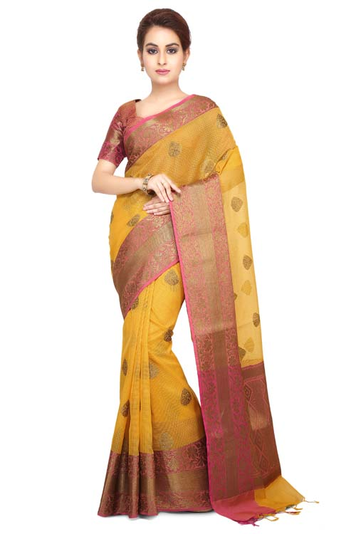 yellow Color Supernet Saree With Border-I128