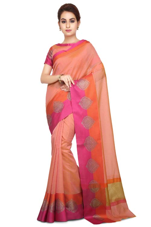 Pink Color Chanderi With Border-I129