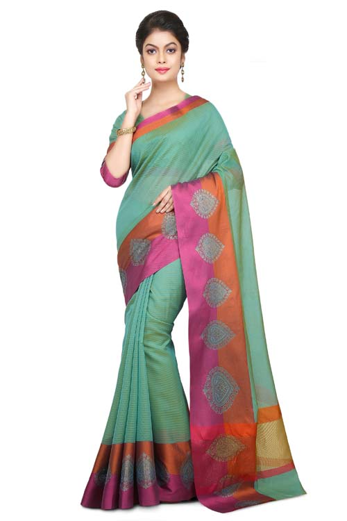Pink Color Chanderi With Border-I130