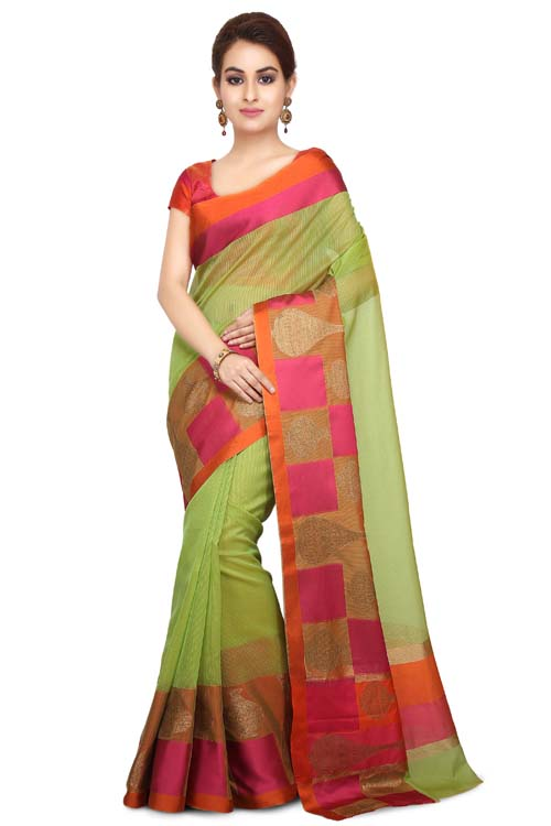Green Color Weaving Work On Supernet Saree With Resham zari Border-I101