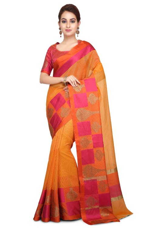 Orange Color Weaving Work On Supernet Saree With Resham zari Border-I102