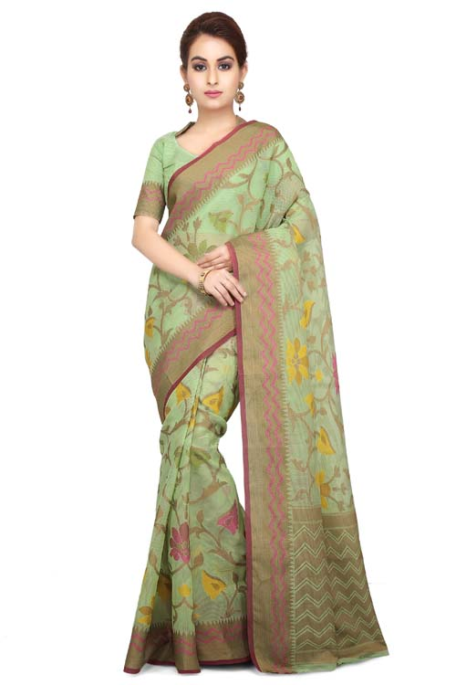 Green Color Weaving Work On Supernet Saree With Zig-zag zari Border-I103