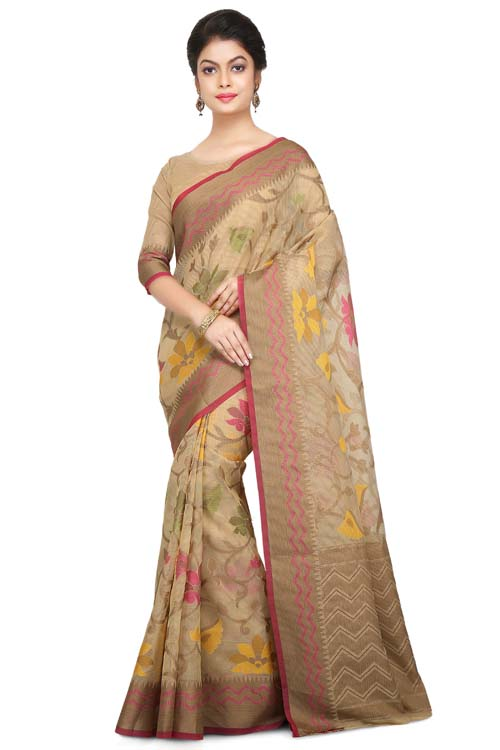 Beige Color Weaving Work On Supernet Saree With Zig zag zari Border-I104