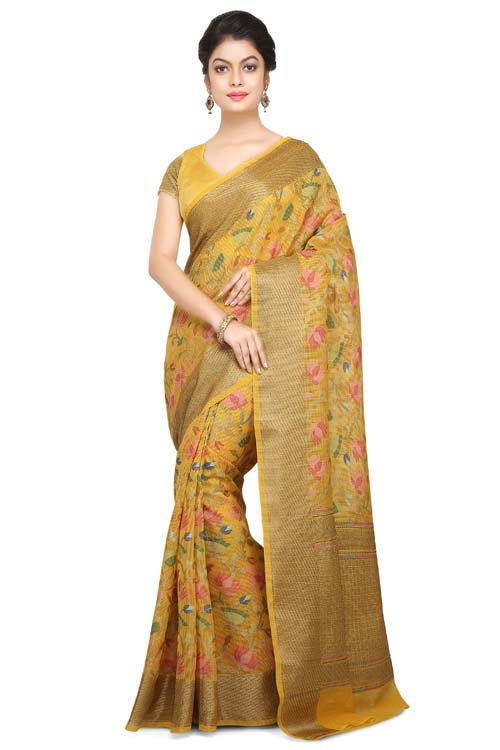 Yellow Color Weaving Work On Supernet Saree With plain zari Border-I105
