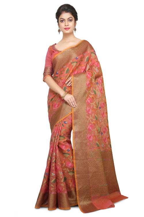 Peach Color Weaving Work On Supernet Saree With plain zari Border-I106