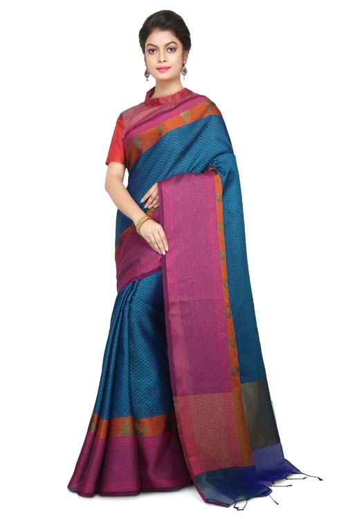 Navy Color Weaving Work On Supernet Saree With plain Border-I107