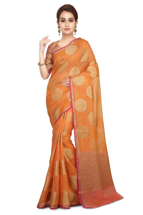 Orange Color Weaving Work On Supernet Saree With plain zari Border-I111