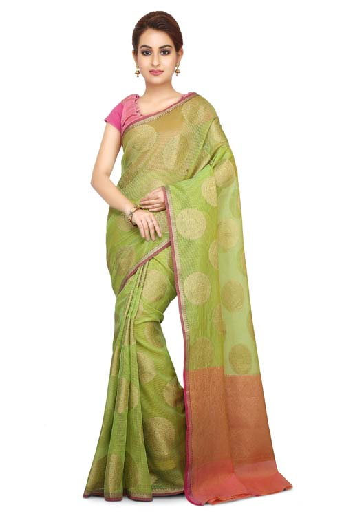 Green Color Weaving Work On Supernet Saree With plain zari Border-I112
