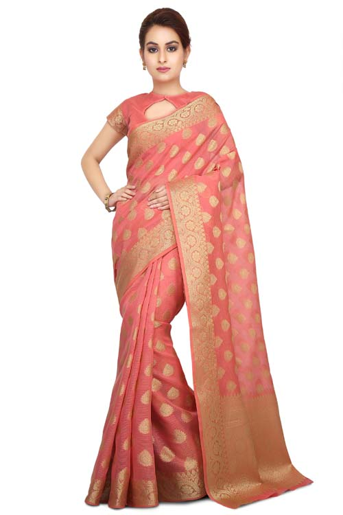 Peach Color Weaving Work On Supernet Saree With zari Border-I113