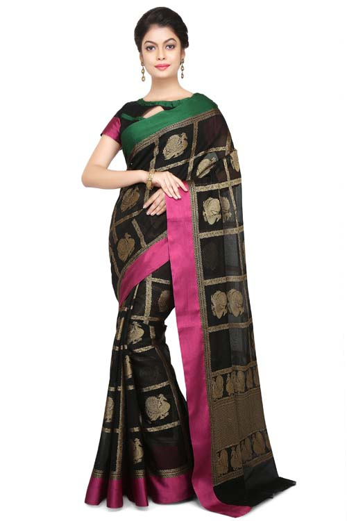 Black Color ganga-jamuna paithani border and its zari work pallu Border - I114