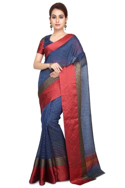 Blue-red Color chanderi with geometric design all over with pathani border - I117