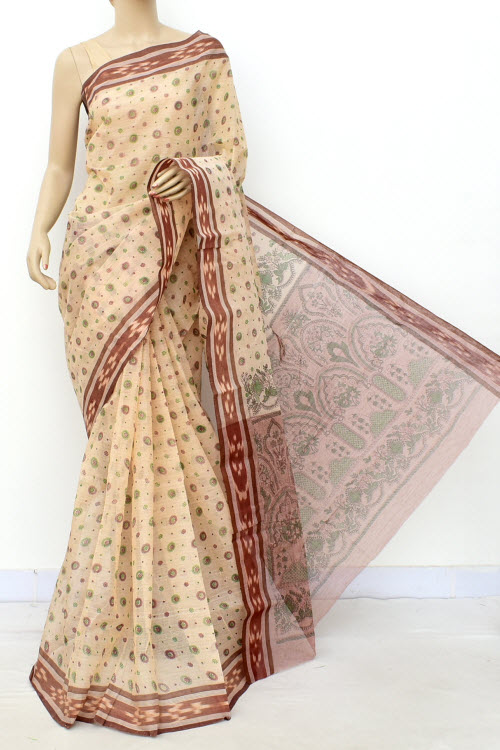 Fawn Chocolate Block Printed Handwoven Bengal Tant Cotton Saree (Without Blouse) 17814