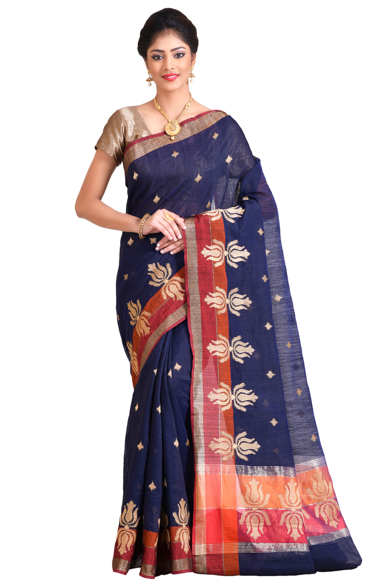 Royal Blue Color Zari Emdroidered With Zari Patta Chanderi Saree