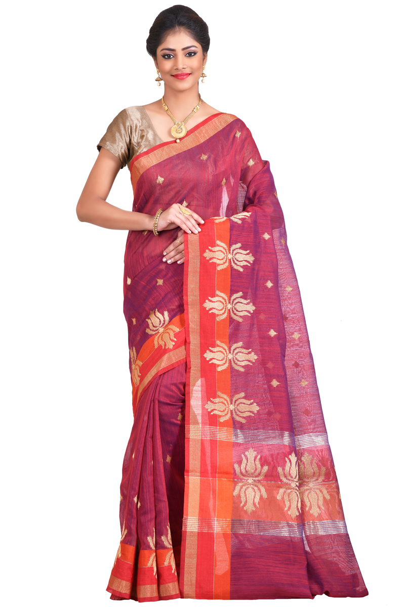 Dark Fuchsia Color Zari Emdroidered With Zari Patta Chanderi Saree