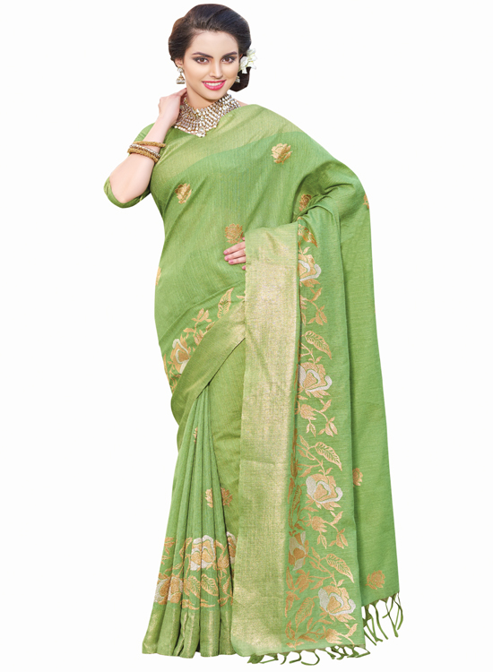 PISTA GREEN, GREEN SILK SAREE MC4500F111