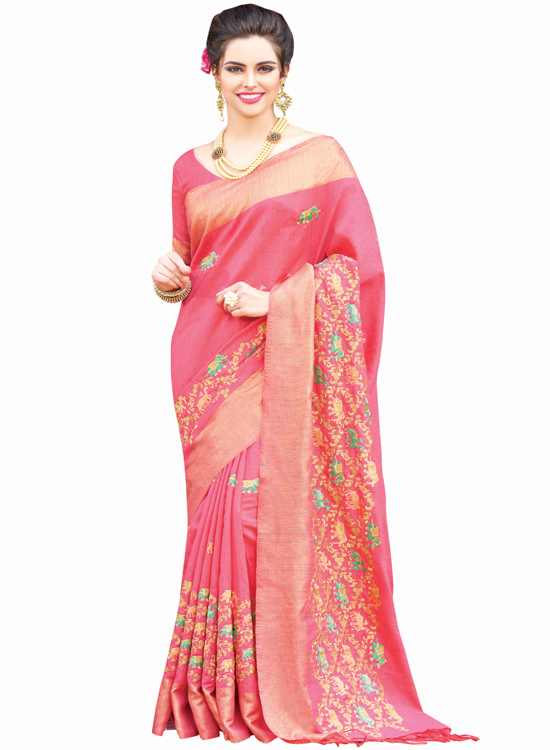 OLD ROSE, GREEN SILK SAREE MC4500F114