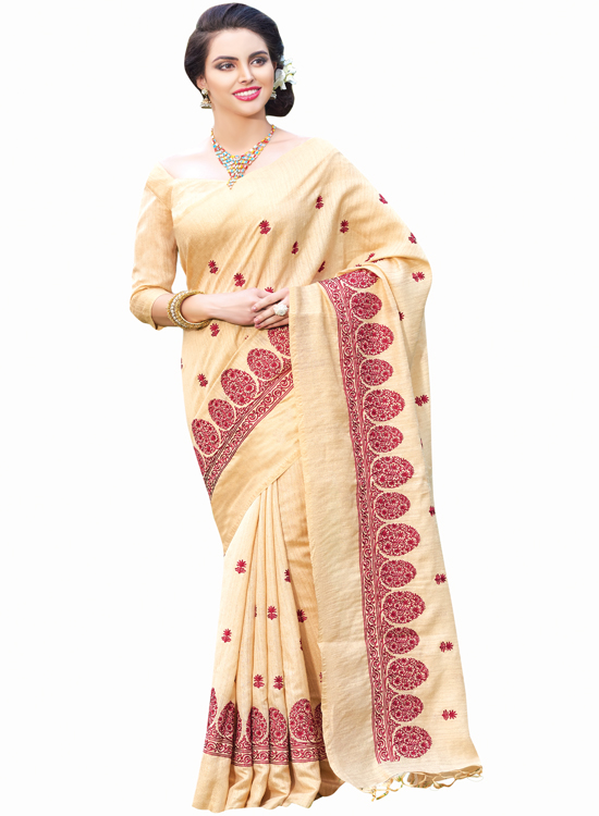 CREAM COLOR, GREEN SILK SAREE, MC4500F115