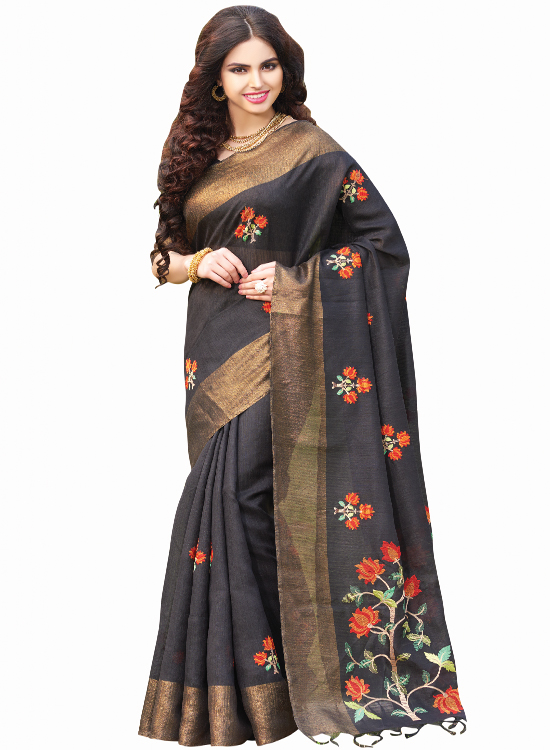 BLACK COLOR, GREEN SILK SAREE, MC4500F117