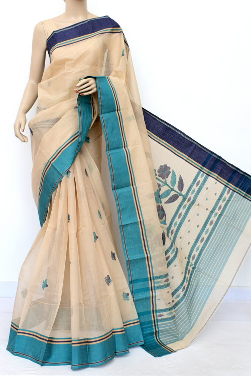 Off White Designer Handwoven Bengal Tant Cotton Saree (With Blouse) Ganga Yamuna Border 17035