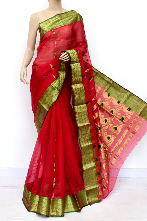 Red Green Handwoven Bengal Tant Cotton Saree (Without Blouse) Zari Border 16989