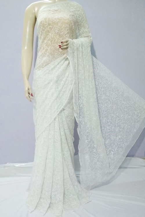 White Color Hand Embroidered Lucknowi Chikankari Saree (With Blouse - Georgette) allover designer work 71125